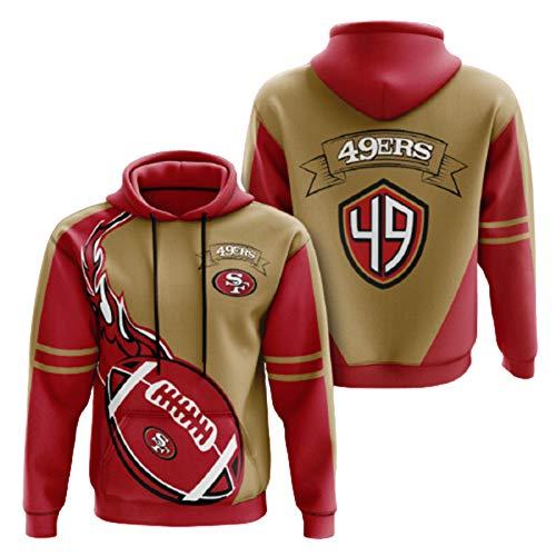 YSNS Wikinger 49er Saints Rugby Hoodies Pullover, 3D-Druck-Langarm-Top-Mantel, amerikanische Fußball-Trikots-Hoodies-Pullover-5XL 49ers-L