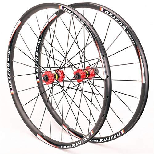 For ruedas de la bici MTB 26 / 27,5 / 29 pulgadas de aleación de aluminio del freno de disco del borde 24H plana Radios Hub rojo for cassette Rueda de liberación rápida (rueda de la rueda delantera +