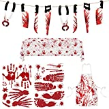 Lesnala Halloween Party Supplies 5 pcs, Bloody Garland Banner, Halloween Clings Bloody window Stickers 2 sheet, Blood Splatter Apron and Blood Tablecloth for Zombie Vampire Decorations