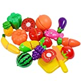 KAREZONINE Cutting Fruits Vegetables Set, 16 Pack Play Kitchen Plastic Cutting Food for Kids Pretend Play Kitchen Toys Educational Food Toys for Children Girls Boys