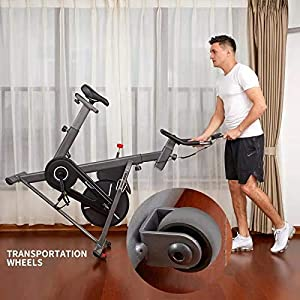 HouseFit Indoor Cycling Stationary Exercise Bike - with Magnetic Resistance, Quiet Belt Drive, LCD Monitor & Comfortable Seat Cushion