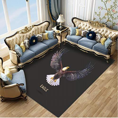 WHFDZJT Teppich 3D Druckraum Strong Brave Eagle Print rutschfeste Fußmatte Schlafzimmer Küchenteppiche 120X160Cm