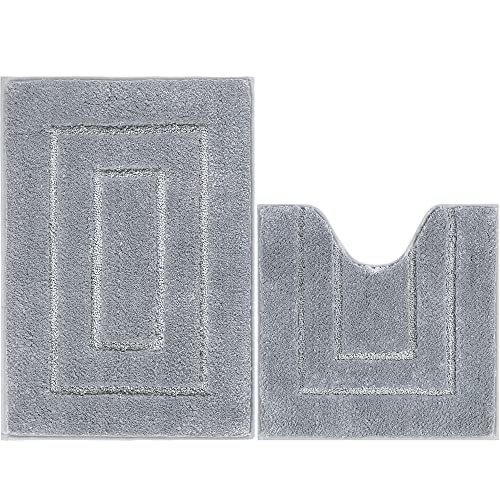 Famibay Tapis de Bain et WC 2 Pieces Microfibre Gris Tapis de Salle de Bain Absorbant 50x80cm Carpette de Toilette Antiderapant 50x50cm Tapis de Sol Bain Lavable en Machine pour Baignoire Douche