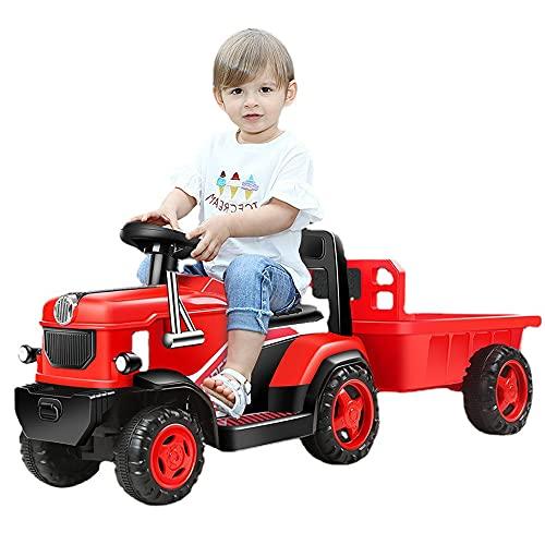 QSYY Bicicleta De Tractor Eléctrica para Niños, Cargador para Niños Pequeños con Remolque, 6 Juguetes para Montar, Coche De Control Remoto para Niños De 3 A 8 Años
