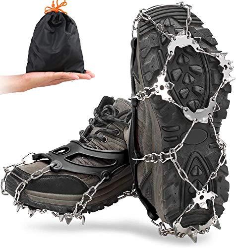Lixada Crampones 18 Dientes Cubierta de Zapatos Antideslizante con Bolsa de Almacenamiento para Caminar Senderismo Pesca Montañismo