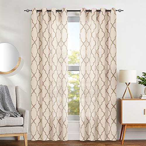 "jinchan Moroccan Tile Print Curtains for Living Room Quatrefoil Flax Linen Blend Textured Geometry Lattice Grommet Window Treatment Set for Bedroom 50"" W x 84"" L 2 Panels Taupe"