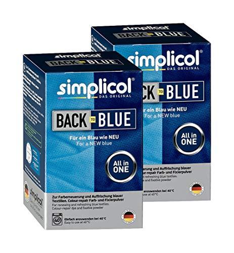 Simplicol Farberneuerung Back-to-Blue, Blau, 2er Pack: Farbauffrischung und -Erneuerung in der Waschmaschine, Hautfreundlich, All-in-1 DIY Färbemischung mit Textilfarbe für Stoffe