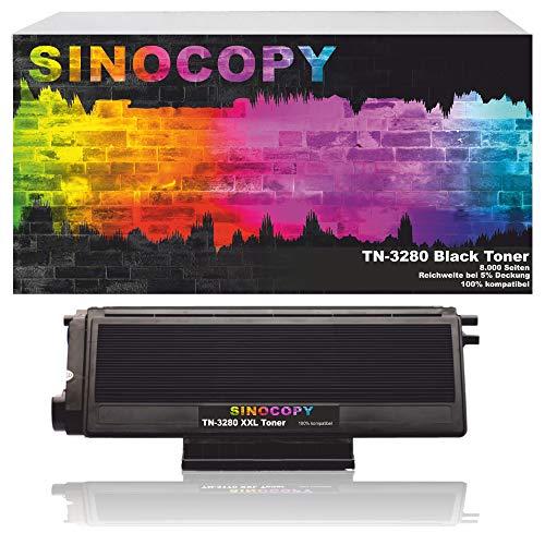 SinoCopy XXL Toner TN-3280, TN3280 für Brother HL5340D, HL-5350DN, HL5370WD, HL5380DN, 8085DN. 8880DN, 8890DW, MFC-8370DN - Schwarz je 8.000 Seiten