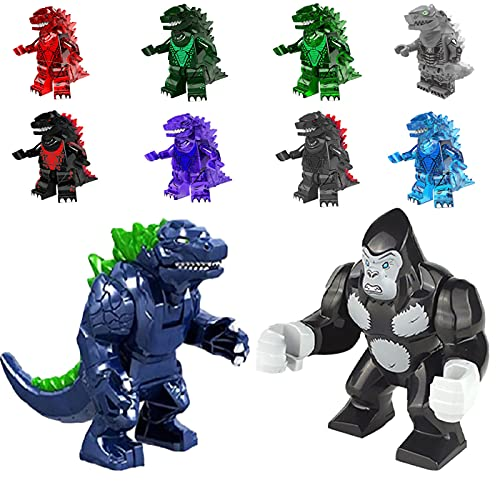 Set of 10 Godzilla Vs King Kong Action Figures, Godzilla Vs Kong Toys 2021, Godzilla Vs King Kong Movie, Movable Joint Action Figure Assembled Model Toys for Kids (Super Godzilla Package)