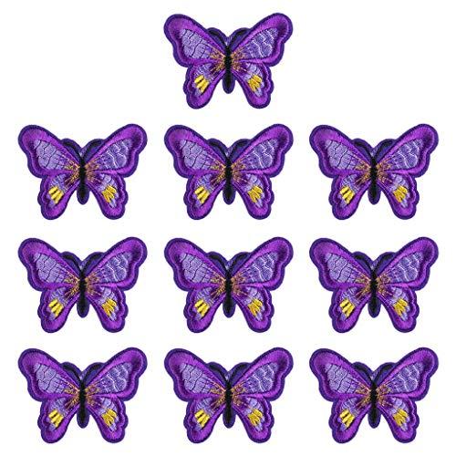 N/A. Juego de 10 parches de bordado de mariposas, colores mezclados, para coser o planchar en ropa, manualidades, bricolaje, pegatinas, camisetas, vaqueros, chaquetas, decoraciones