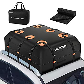 Smashier Car Rooftop-Cargo-Carrier Bag - 16 Cubic Ft Roof-Bag with 100% Waterproof Military Grade Nylon Cordura Fabric Waterproof Zipper Wider Straps Night Reflective Strip & Anti-Slip Mat Incl.