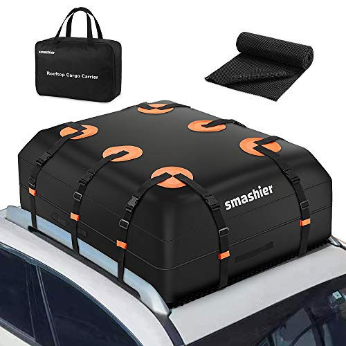 Smashier Car Rooftop-Cargo-Carrier Bag - 16 Cubic Ft Roof-Bag with 100% Waterproof Military Grade Nylon Cordura Fabric, Waterproof Zipper, Wider Straps, Night Reflective Strip & Anti-Slip Mat Incl.