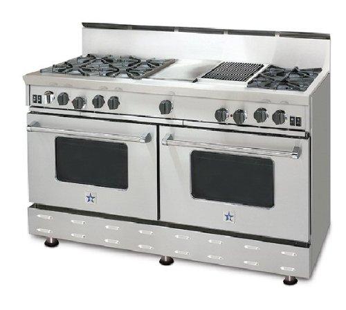 Blue Star Range RNB606CBV1 60' 'RNB Series' Home Range With 6 Burners And 24' Charbroiler - Std. Back Riser Included