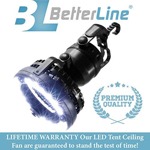 Ventilador de techo LED BETTERLINE Happy Camper 2 en 1 – Funciona como linterna y ventilador de refrigeración para camping, materiales de primera calidad y un diseño único