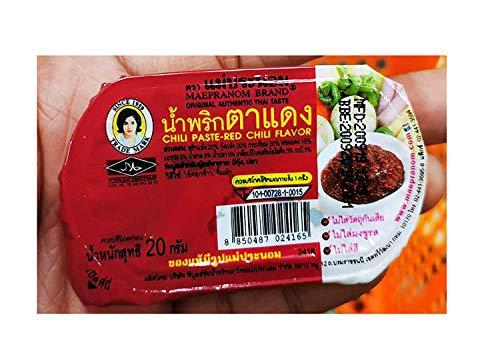 Best Chili Paste Red-chili Flavor (Nam Prik Ta-dang) Thai Original Spicy Herbal Food Net Wt 20 G.(Pack of 6) Mae-pranom Brand Halal certified. By naveenana shop.