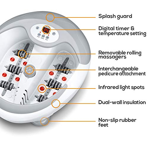 Beurer FB50 Foot Spa With Water Heater. Footbath With Infrared Light And Magnetic Therapy. 3 Pedicure Attachments. 5-Level Water Heater. Vibration, Bubble And Reflexology Massage Functions