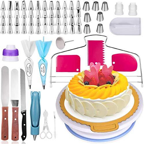 LDALAX Decorazione Torta Set di Utensili, 124 Pezzi di Utensili da Decorazione per Torte della Pasticceria Professionale, Giradischi Rotante, Unghie di Fiori, Fresa