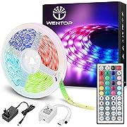 WenTop Led Strip 5m, Farbwechsel LED Band mit IR Fernbedienung, SMD 5050 RGB LED Streifen, für die Beleuchtung und Dekorative von Haus, Party, Küche