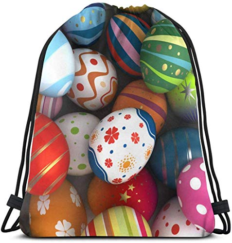 Sfondo con Uova di Pasqua con Coulisse Zaino Borsa Palestra Borse da Ballo Regalo per Ragazze Figlia Ragazzo Borsa Regalo di Compleanno per Bambini Teen 17×14 Pollici