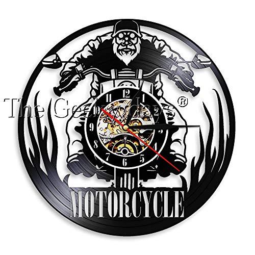 FDGFDG Reloj de Pared de Motocicleta Decoración de Pared Vintage para Garaje Tienda de Motos Reloj de Vinilo Colgante Negro Relojes de Pared 3D