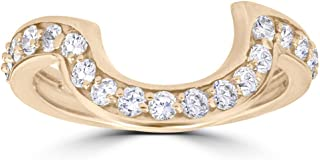 1/2 cttw 14k Yellow Gold Diamond Curved Contour Band For Forever Us 2 Stone Ring