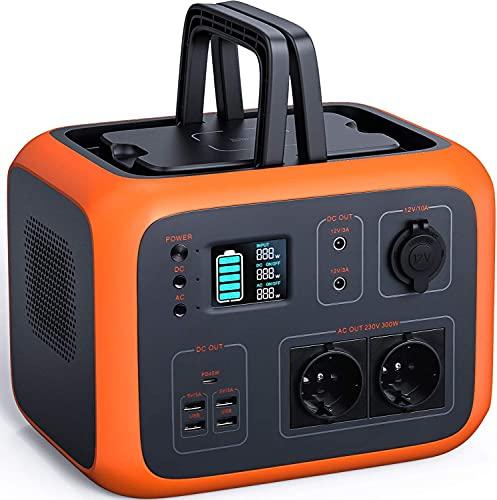 Powerstation, 500Wh Akku und Solar Generator mit 2 x 220V AC, 2 x 12V DC, 4 x USB, PD und kabelloses Laden, Display der Lade- und Entladeleistung und LED, Energiespeicher für Camping, Outdoor