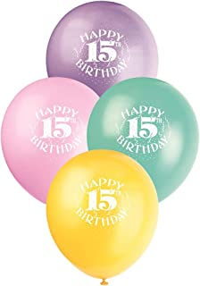 Unique Party Happy 15th Birthday Latex Balloons, Assorted Colours, 30cm/12, Pack of 6