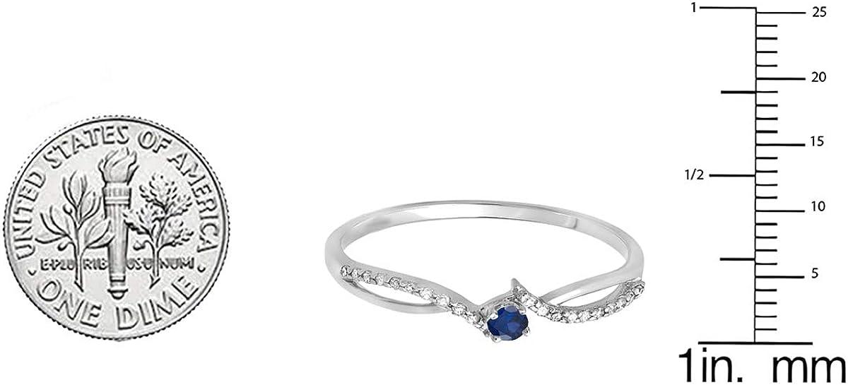 Dazzlingrock Collection 18K Gold Round Blue Sapphire & White Diamond Ladies Split Shank Promise Engagement Ring