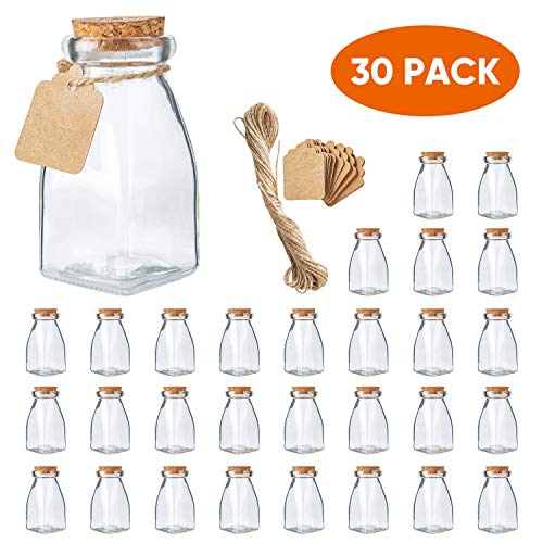 The Square Glass Yogurt Jars,Pudding Jars with cork lids, Dessert Glass jars, 4 Oz Glass Jars for Jam,Milk, Honey, Glass Yogurt container with Labels and Strings.