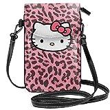 shenguang Bolsos cruzados pequeños Monedero para teléfono celular Estampado de gatito de leopardo con ranuras para tarjetas de crédito