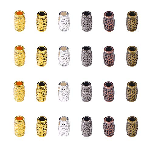 PH PandaHall 180pcs 6 Color Column Spacer Beads Tibetan Filigree Tube Metal Spacers for Bracelet Necklace Jewelry Making, Hole: 3.5mm