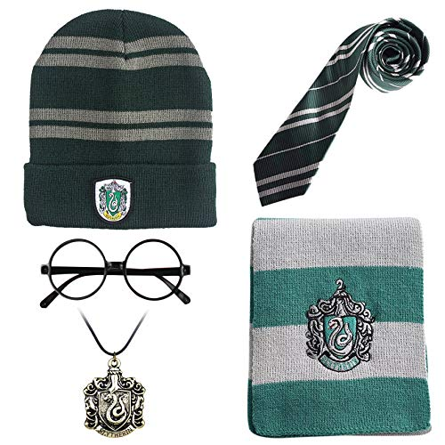 Monissy Harry Potter Zubehör Kostüm Set Kinder Erwachsene Accessories Gryffindor Hufflepuff Ravenclaw Slytherin Fanartikel Krawatte Schal Brille Halskette Unisex Cosplay Verkleidung Karneval Fasching