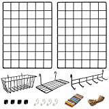 2 Pack Wire Wall Grid Panel With <span class='highlight'><span class='highlight'>Accessories</span></span> | Includes Hanging Basket, Shelf & Hook Rack | Complete Set | Wire Notice Board | Hanging Home, Office & Kitchen Décor | Photo Board | Metal & Black