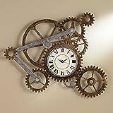 Vory Reloj de pared de metal rústico moderno industrial estilo steampunk para decoración de dormitorio, 100 x 82 cm