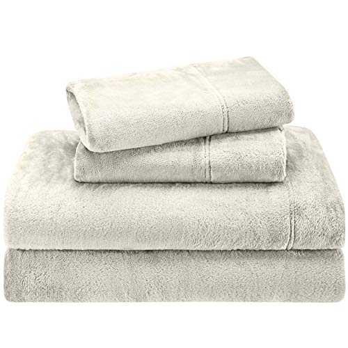 Brookstone NAP Plush Comfort Sheet Set - Super Soft Velvety - Static-Resistant Bed Sheets - All Season - Cal King - Ivory