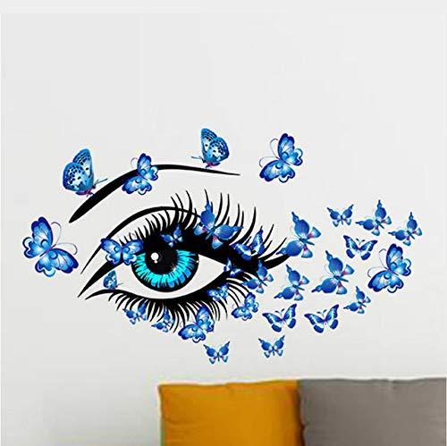 Pmhhc DIY zelfklevende pvc wanddecoratie wandsticker grote ogen vlinder vliegen roze meisjes vrouw dame kamer decoratie