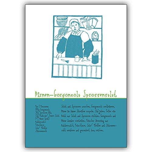 1 Koch Grusskarte: Birnen Gorgonzola Sprossensalat Rezept Grußkarte für schnelle Köche • edle Klappkarte mit Umschlag innen blanko