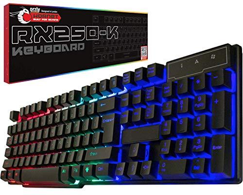 Teclado para juegos RGB con cable USB Rainbow Teclado diseñado para PC gamers, PS4, PS5, portátil, XBOX, Nintendo Switch, Orzly - Edición Hornet RX-250