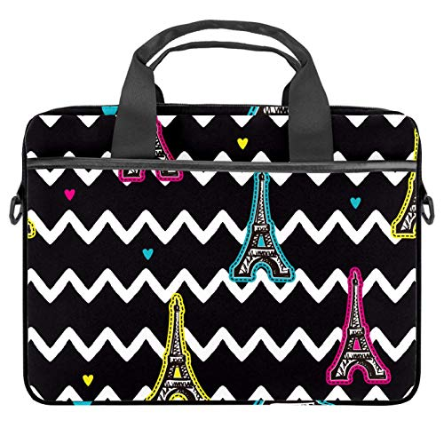 Laptop Tote Bag Computer Rucksack Compatible with Chromebook, MacBook Pro Eiffel Tower Black White Wave Stripes