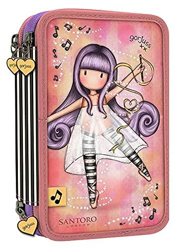 ASTUCCIO SCUOLA Santoro Gorjuss London 3 PIANI COMPLETO ZIP Little Dancer Piccola Ballerina + Omaggio penna paillettes 6 colori in 1 + portachiave con paillettes