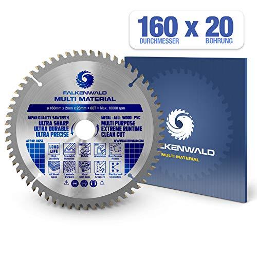 FALKENWALD ® Kreissägeblatt 160 x 20 mm - Ideal für Holz, Metall & Alu - Handkreissägeblatt kompatibel mit Tauchsäge & Kreissäge von Bosch & Makita - Universal Sägeblatt aus hochwertigem Hartmetall