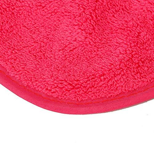 Paño facial desmaquillador, toalla limpiadora facial roja rosa 38 x 16 cm multifuncional para desmaquillador para la mayoría de los tipos de piel