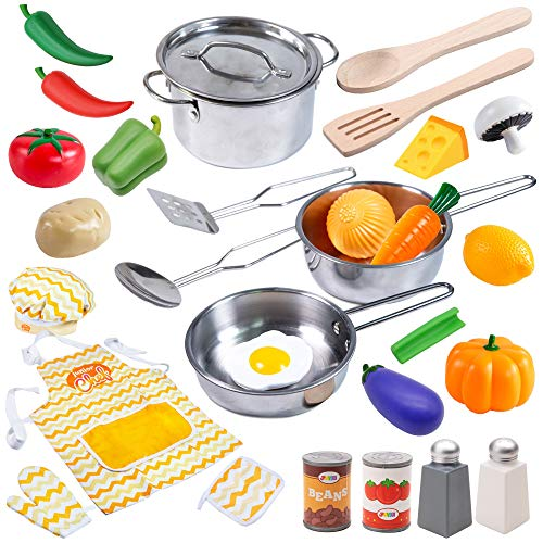 Kitchen Pretend Play Accessories Toys with Stainless Steel Cookware Pots and Pans Set, Cooking Utensils, Apron & Chef Hat and Grocery Play Food for Kids Boys, Toddler and Girls Gifts Learning Tool.