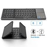 Foldable Bluetooth Keyboard, Jelly Comb Dual Mode Bluetooth & USB Wired Rechargable Portable Mini BT...