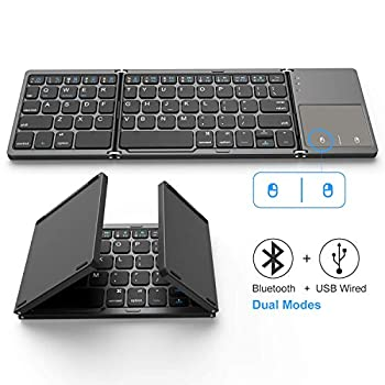 Foldable Bluetooth Keyboard Jelly Comb Dual Mode Bluetooth & USB Wired Rechargable Portable Mini BT Wireless Keyboard with Touchpad Mouse for Android Windows PC Tablet-Dark Gray