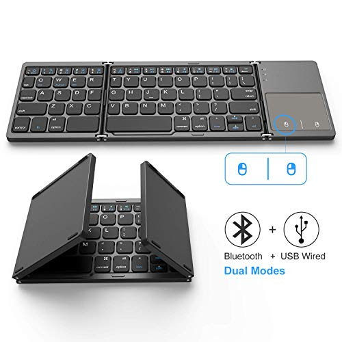 Foldable Bluetooth Keyboard, Jelly Comb Dual Mode Bluetooth & USB Wired Rechargable Portable Mini BT Wireless...