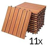 Deuba Set de 11 baldosas 'Clásico' de madera de...