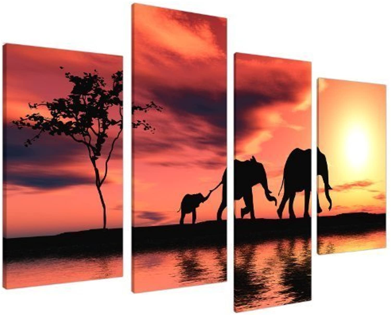 Large African Sunset Elephants Canvas Wall Art Pictures in orange and Black - XL - Big Modern Contemporary Artwork - Multi Panel Split Canvases - 130cm Wide