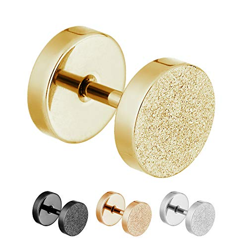 Treuheld®   4mm Fake Plug Ohrstecker in Diamant Glitzer Optik   Gold   Fake Tunnel Ohrring zum Schrauben für Damen und Herren   Chirurgenstahl