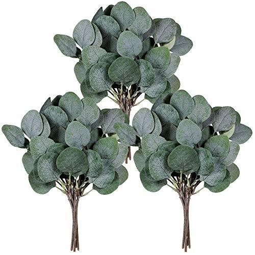 18 Pcs Eucalyptus Leaves Stems Bulk Artificial Greenery Stems Faux Face Silver Dollar Eucalyptus Plant Branches for Floral Arrangement Vase Centerpieces Bouquets Wedding Holiday Greens Decor